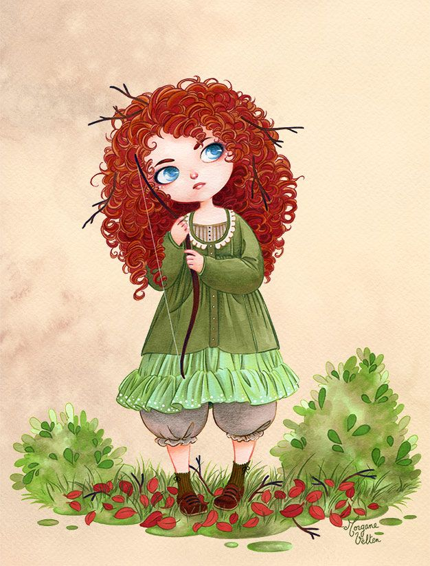 "Disney girls dressed in Mori Girl style - Merida from ""Brave"" - Art by morganevelten.tumblr.com - For a quick overview on what Mori Girl style is, click here: http://www.buzzfeed.com/cathyngo/forest-girls-rock#.xkpZo1Lrdb"