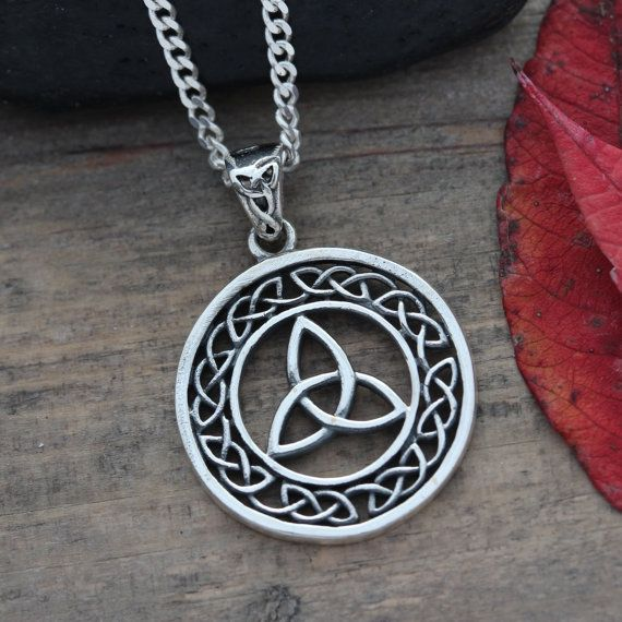 sterling silver celtic knot necklace triquetra knot