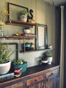 hanging rope shelves, indoor garden