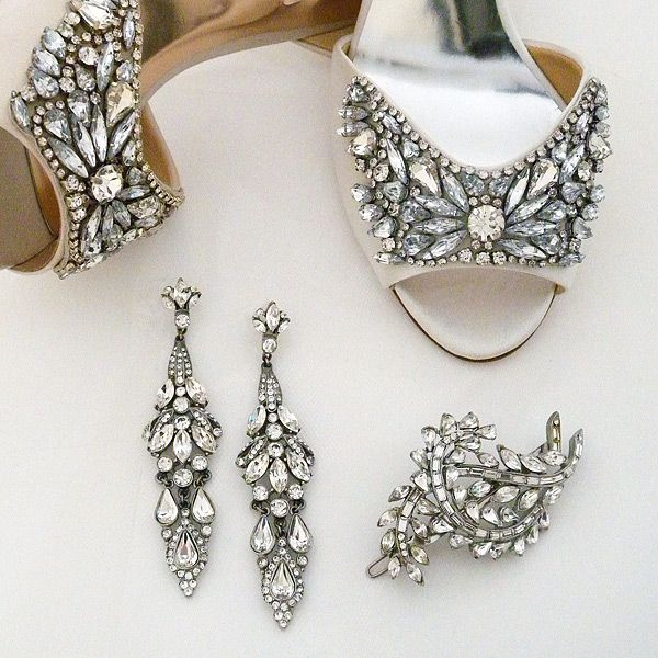 Deco Wedding Glamour! Ben-Amun vintage bridal jewelry & accessories perfectly complement Badgley Mischka Candace wedding shoes.