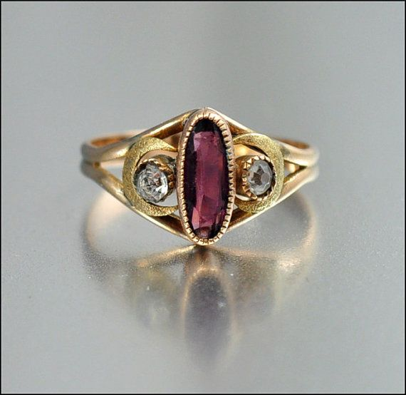 Gold Fill Victorian Ring Amethyst Paste Crescent Moon   #Vintage #Jewelry