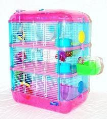 Pink and Blue 3 Storey Dwarf Hamster Cage with 2 wheels so they don't fight over the wheel!