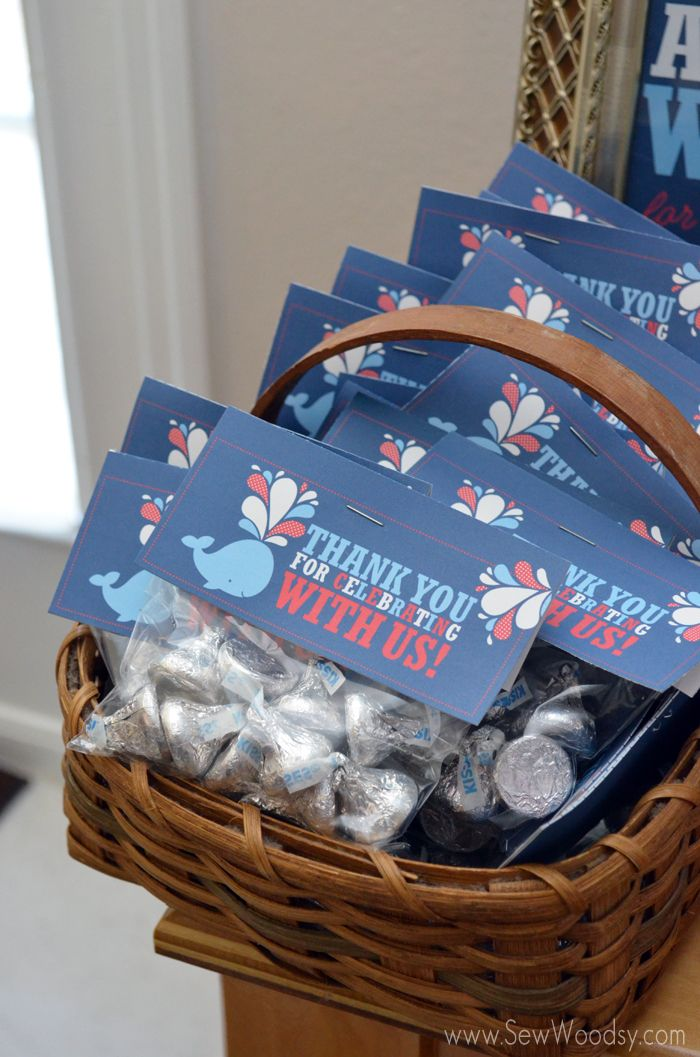 whale theme baby shower   Kisses from the baby --thank you favors for a whale baby shower!
