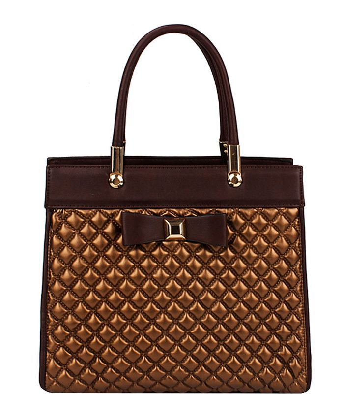 Quilted Look Handbag with Bow Bronze - Abfabulous Fashion
