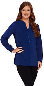 As Is Susan Graver Stretch Peachskin Long Sleeve Button Front Shirt