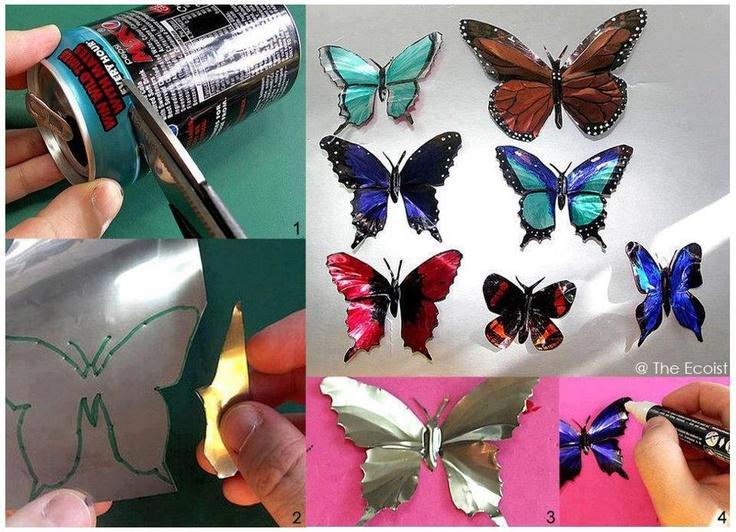 pop can butterflies fun craft