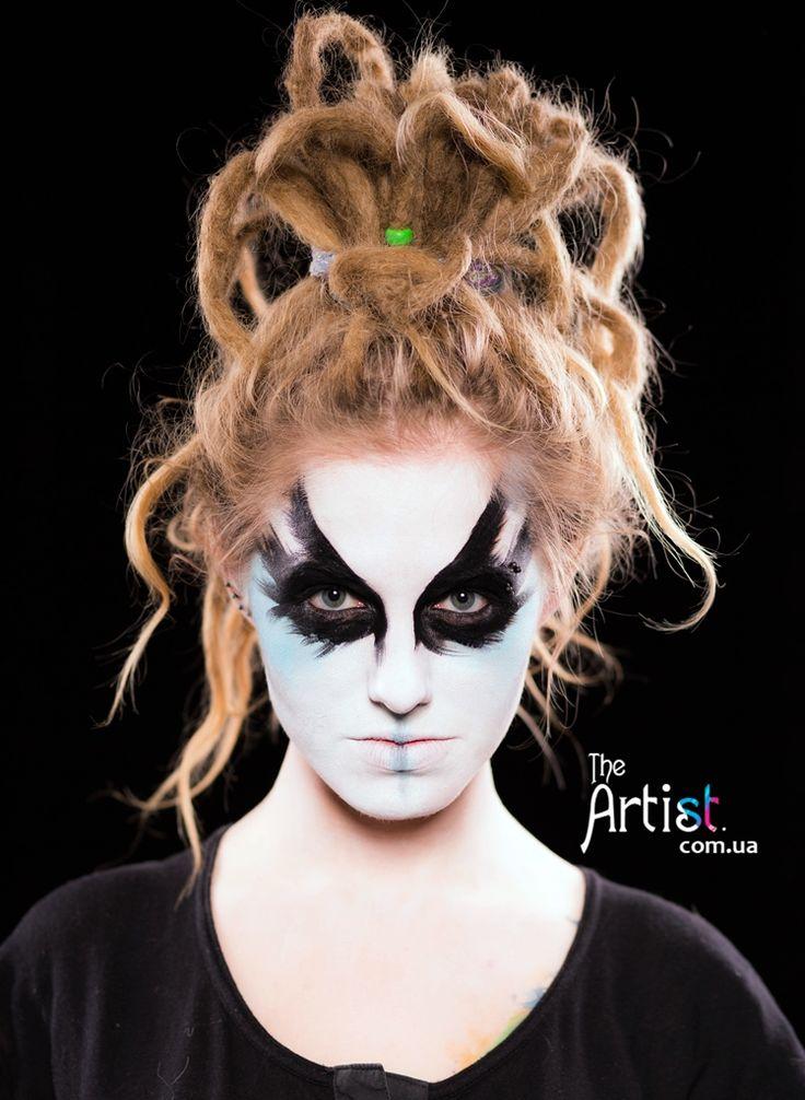 face art http://theartist.com.ua/ Аквагрим на Хэллоуин в Киеве, грим на хеллоуин, страшный макияж, make up на Halloween, маска, заказать киев