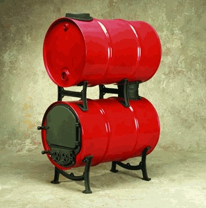 US Stove Double Barrel Stove Adaptor Kit:  Kit for converting 2 30-55 gallon steel drums into an efficient wood burning stove.