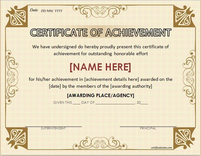 Certificate of Achievement Template for MS Word DOWNLOAD at http://certificatesinn.com/certificates-of-achievement/