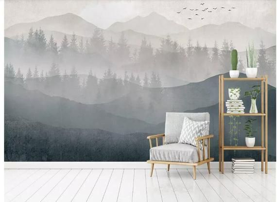 Hand Painted Ink Abstract Mountains Forest Wallpaper Wall Mural Misty Mountains With Flying Birds Wall Mural Abs Wall Murals Wall Wallpaper Landscape Wallpaper