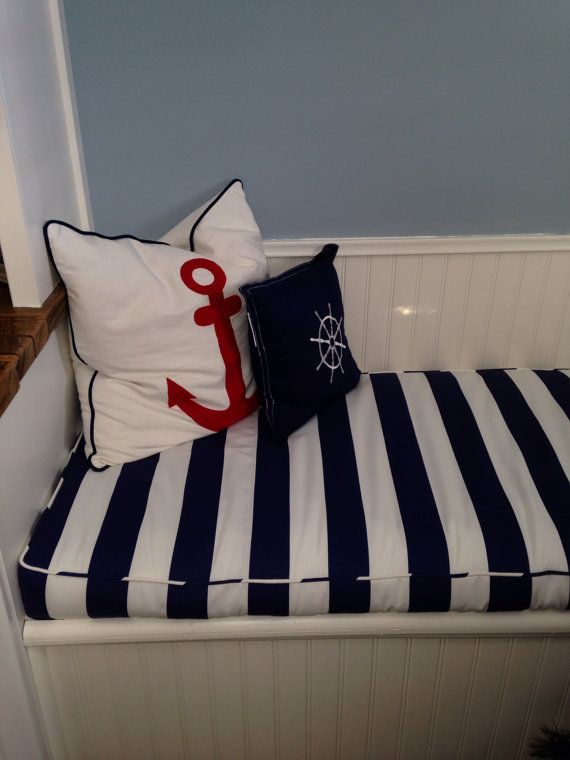 Bench Seat Cushion Cover In Navy And White Stripe