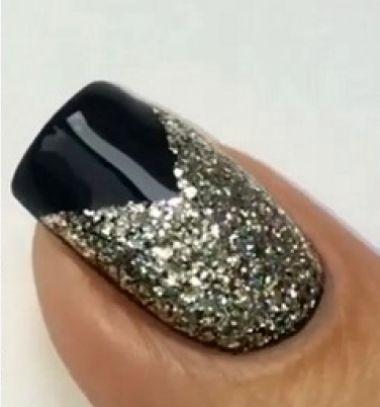 V shape black and gold New year's eve manicure / Fekete - arany körmök / Mindy -  creative craft ideas