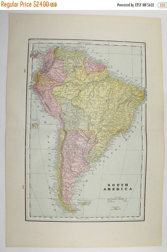 1894 Map of South America, Wedding Gift for Couple, Cuba Map, West Indies, Bahama Islands, Vacation Gift, Travel Map, Unique Birthday Gift available from OldMapsandPrints.Etsy.com #SouthAmericaMap #OriginalAntiqueMap