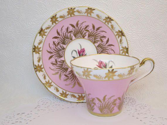 ROYAL STAFFORD TEACUP Pink teacup and saucer Flowers