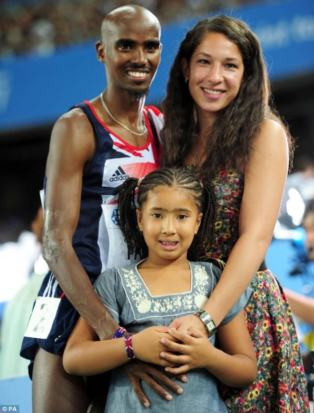 Family man: Mo Farah with his wife Tania and step-daughter Rihanna at London 2012