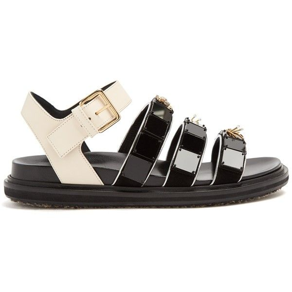 Marni Triple-strap embellished leather sandals (1,385 CAD) ❤ liked on Polyvore featuring shoes, sandals, black multi, strappy sandals, leather sandals, strappy leather sandals, floral sandals and black beaded sandals