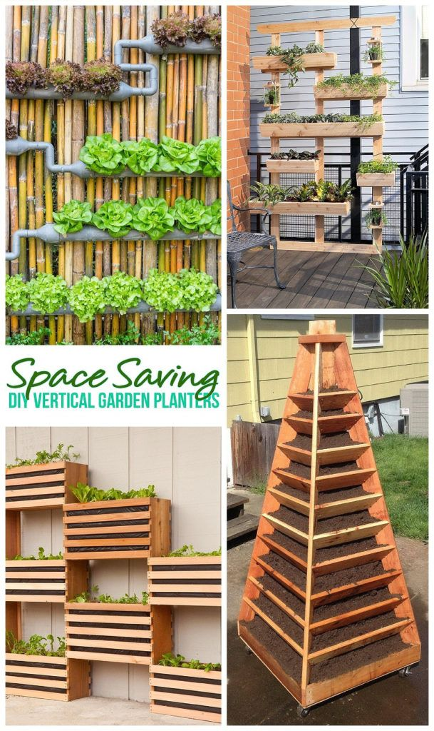 DIY Gardening Projects -The BEST DIY Space Saving Vertical Garden Planters - Tutorials and How To Home Improvement Projects for your Home via Dreaming in DIY