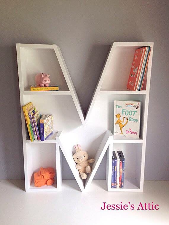 Letter Shaped Bookshelf Perfect For Adding A Little Personalized Touch To Kiddos Room