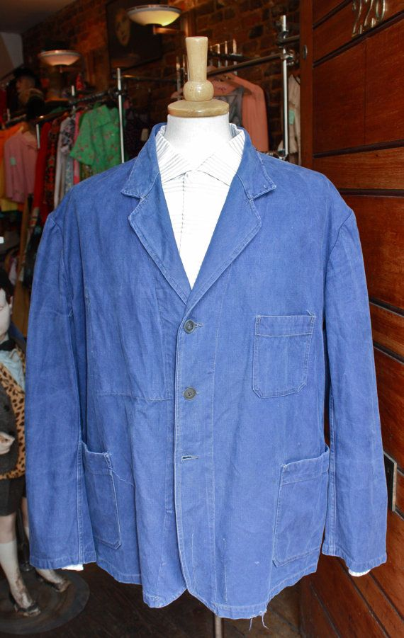 vintage blue french work jacket bleu de travail xl. Black Bedroom Furniture Sets. Home Design Ideas