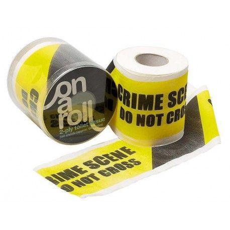 """Toiletpapier """"Crime Scene""""  Dit toiletpapier heeft de bekende opdruk van het afzettingslint van een plaats delict."""