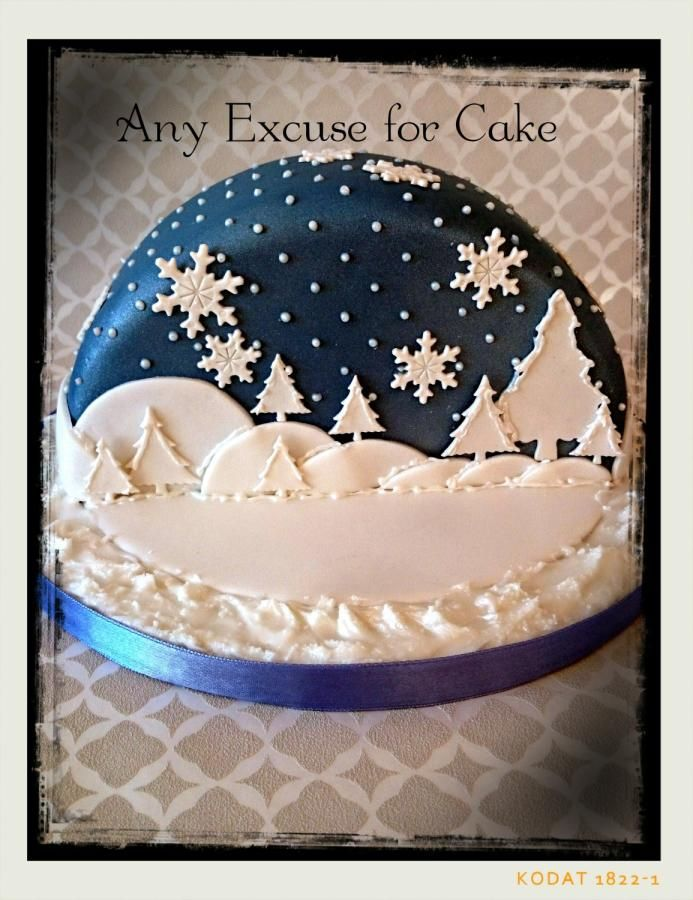 This is the other half to the cake I posted. Another snow globe effect. This time it is a dark starry night scene.