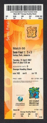 2007 Icc Cricket World Cup Sri Lanka Vs New Zealand Semi Final Match 66 Ticket