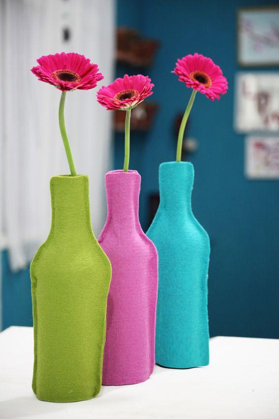 transforme garrafas de vinho em vasos de flores #diy