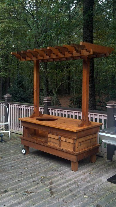Big Green Egg Table - Cedar - by Chad Hamlin @ LumberJocks.com ~ woodworking community Need solid roof in Texas to keep safe from hail