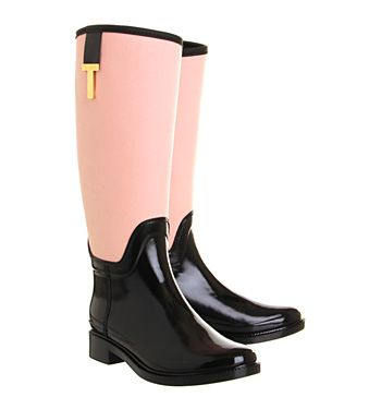 Ted Baker Hiss Welly Black Nude Canvas - Ankle Boots
