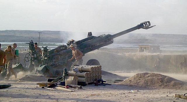 https://flic.kr/p/KBWMA | afghanistan | 070413-A-6669H-002 SANGIN, Afghanistan – British soldiers fire an M-777 155mm Howitzer field artillery gun at identified Taliban fighting positions near the Sangin District center area from a undisclosed Forward Operating Base in Helmand Province April 13. (U.S. Army Photo by Spc. Keith D. Henning) www.army.mil