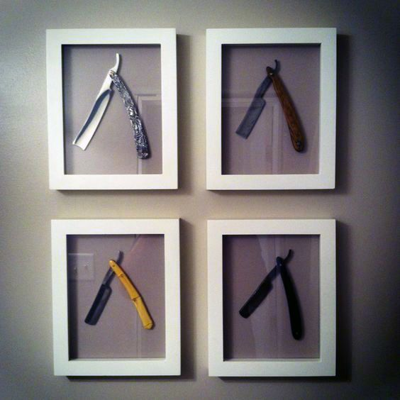 Framed Straight Razor Wall Art Man Cave Decor Ideas