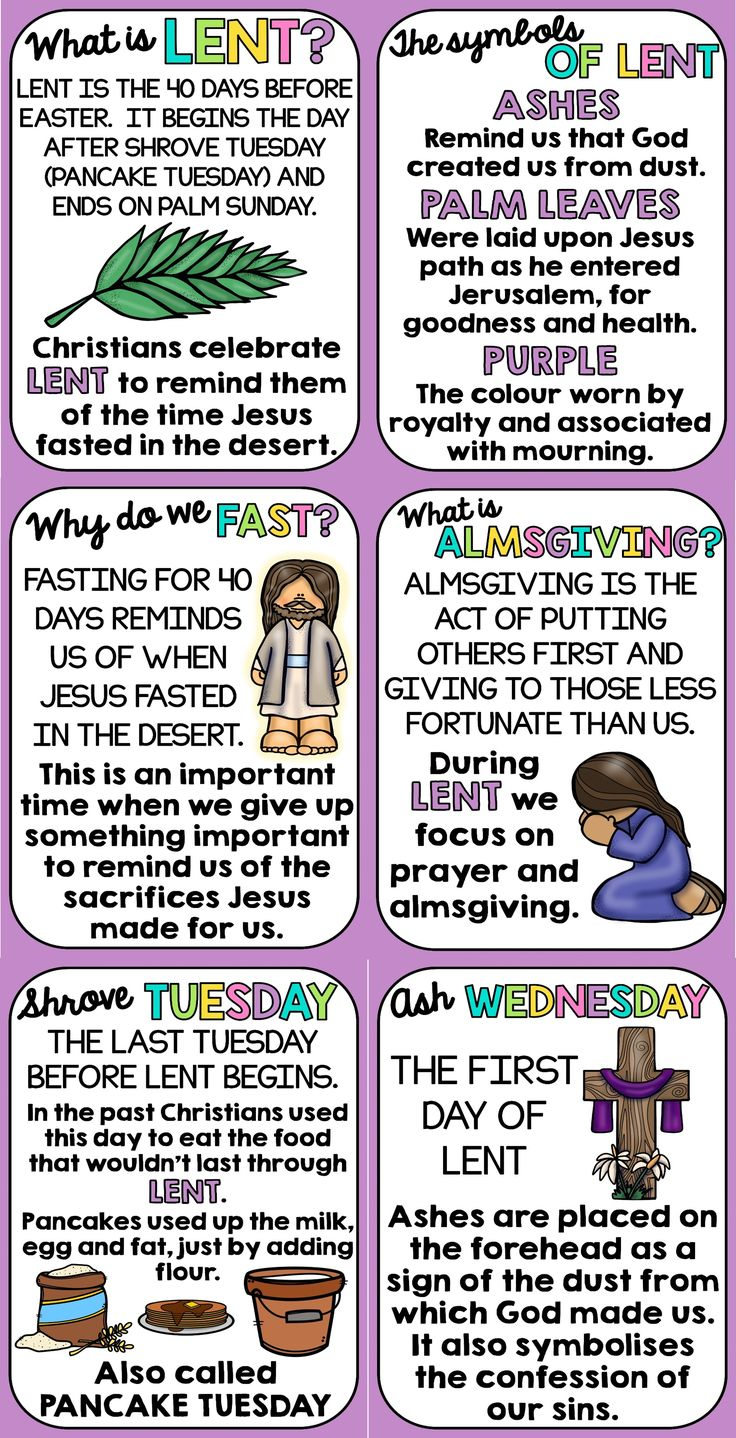 This display will help your students to understand the different components of the Lent period.  Includes: - What is Lent? - Shrove Tuesday. - Ash Wednesday. - What is almsgiving? - Why do we fast? - The symbols of Lent.  This poster set is portrait A4 but could be blown up to A3 when printing.