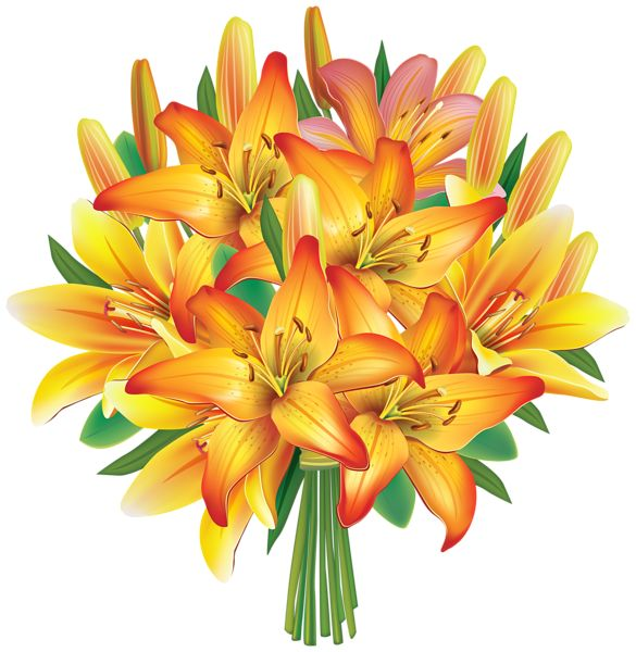 Yellow Lilies Flowers Bouquet PNG Clipart Image   Bouquets ...
