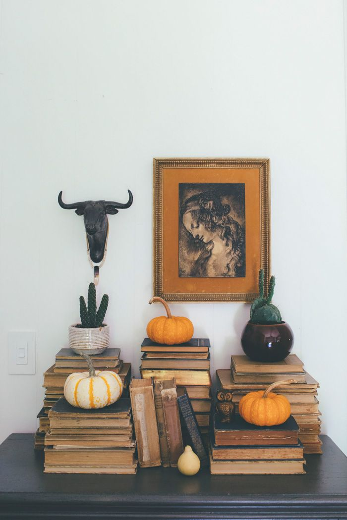 Thoughts from Alice: Boho Eclectic Fall Home Tour - love all the old books!