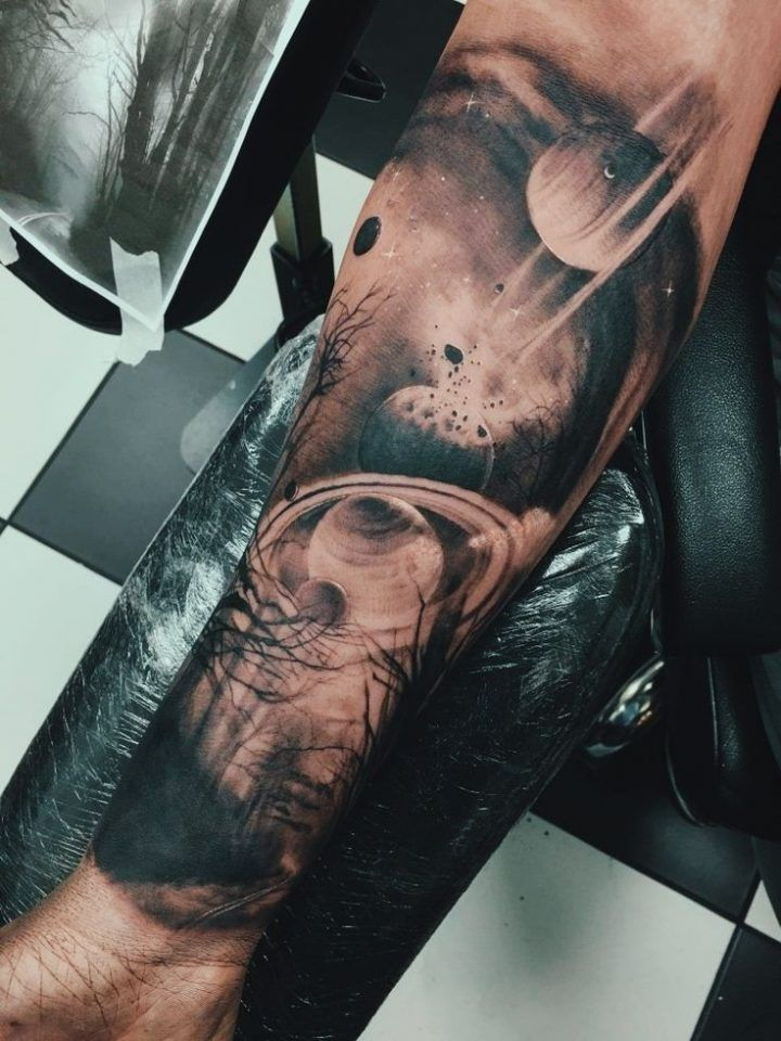 Half Sleeve Space Tattoo with Misty Forest and Road – Tattoo Sleeve