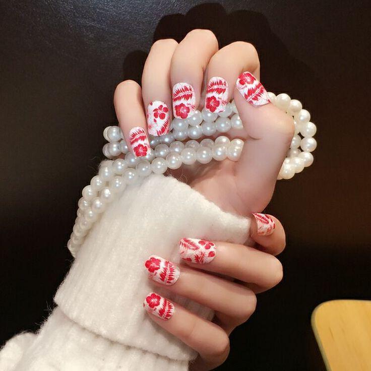 24pcs Kawaii Owl Short Nails Tips with Designs Oval Acrylic Chinoiserie Nail Art #YUNAIL