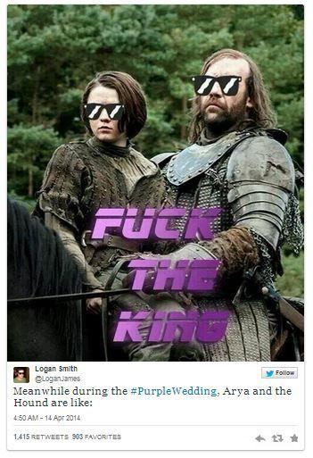 La réaction des fans lors de l'épisode du «Purple Wedding» de Game Of Thrones   le geek c'est chic