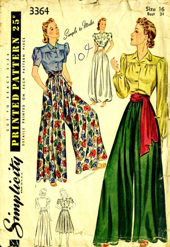 Simplicity 3364 - Late1930s /  Early 40s HAREM PANTS, Trousers, Culotte and Blouse