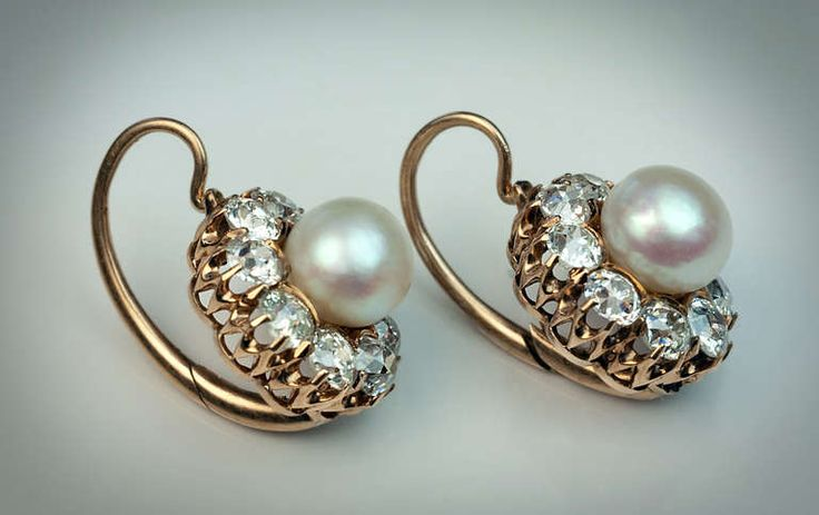 Antique Russian Pearl Diamond Cluster Earrings   From a unique collection of vintage drop earrings at http://www.1stdibs.com/jewelry/earrings/drop-earrings/