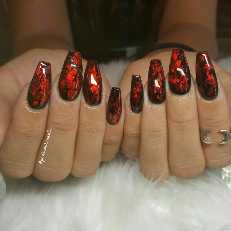 Witchy black and red nails long coffin