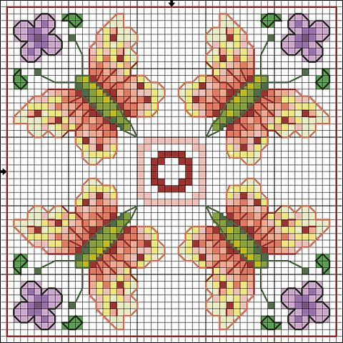 Cross-stitch Butterflies Biscornu pattern ... no color chart available, just use the pattern chart as your color guide.. or choose your own colors...