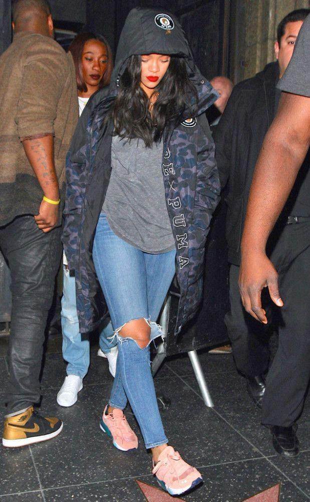 Wardrobe Query: Rihanna's Bape x Puma Camo Jacket and Pink Sneakers