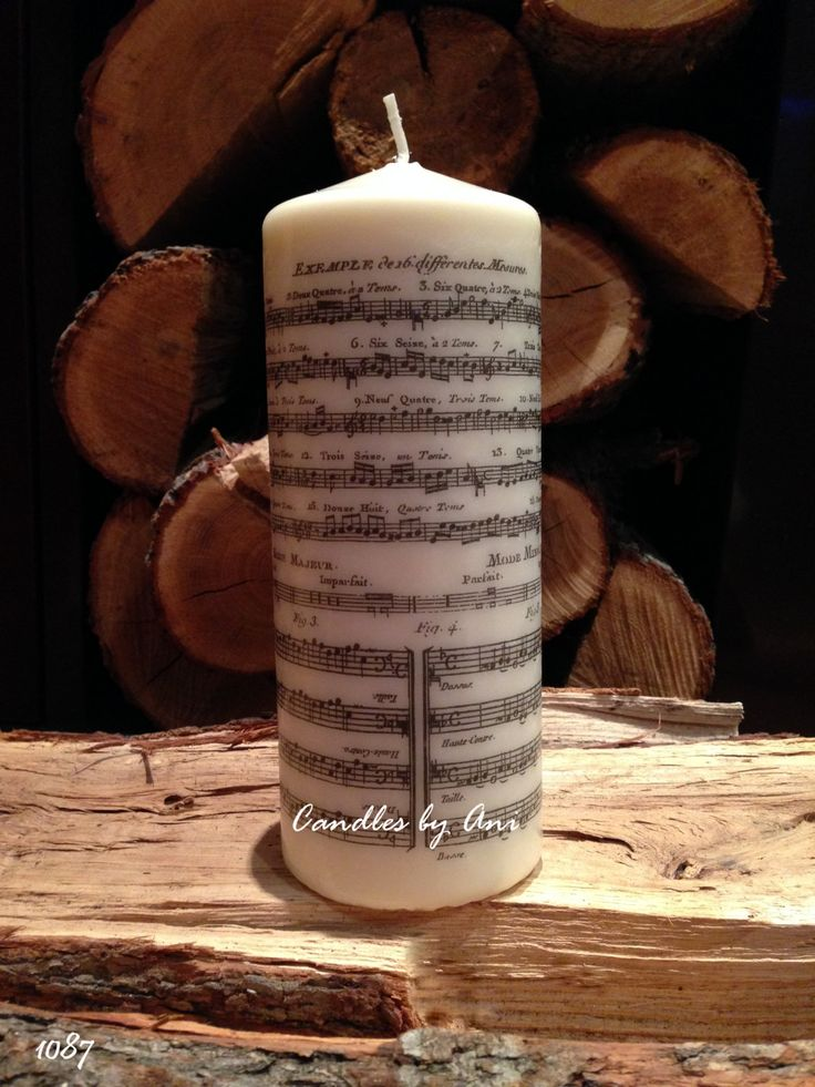 Decorated candle, Handmade candle, Unique gift, Mothers day, Birthday, Gift for woman, Gift for man- Music Notes #1087 by CandlesByAni on Etsy