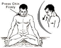 El tercer cierre o Jalandhara Bandha es el cierre de la barbilla. Esta Bandha no se utiliza durante la práctica con la frecuencia de las dos anteriores. Ocurre espontáneamente en algunas asanas como en Sarvangasana, Halasana, etc. Para realizar Jalandhara Bandha se debe llevar la barbilla hacia adentro en dirección del punto medio entre las clavículas. Esta bandha evita que se escape el prana hacia arriba, y previene una subida muy brusca de prana hacia la cabeza.