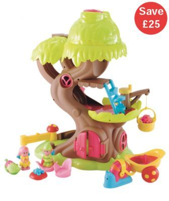 """ELC Happyland Forest Fairy Treehouse - RRP £50. Age 18 months """"Gorgeous tree house full of special nooks and crannies, with fairies and separate snail-drawn carriage.  The Happyland Forest Fairy Tree House is full of magical surprises. Your child can turn a handle to raise or lower a removable fruit basket, helping the fairies move things around their home. The rooftop compartment opens up to reveal a living room, and the doorbell makes two electric sounds. The fairies can use the slide to…"""