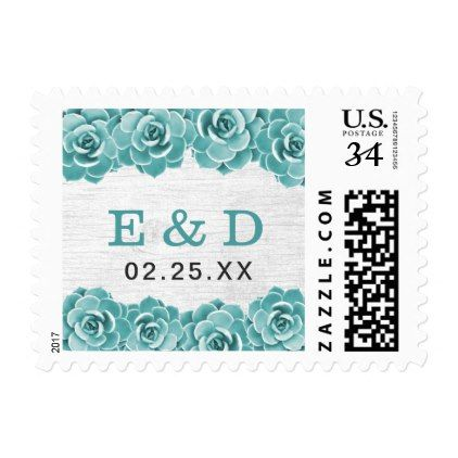 Rustic Succulent Floral Barn Wood Elegant Wedding Postage - spring wedding diy marriage customize personalize couple idea individuel