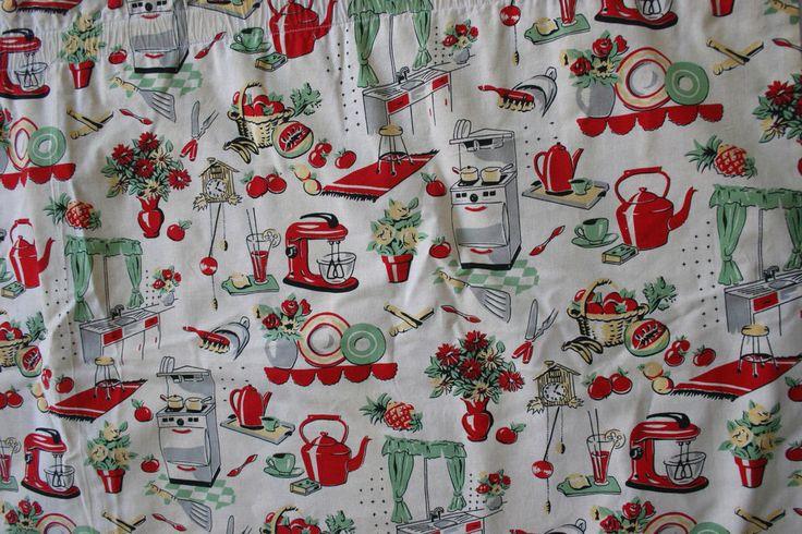 Vintage 50s MCM Mid Century Kitchen Theme Novelty Print Fabric Kitchen Curtain