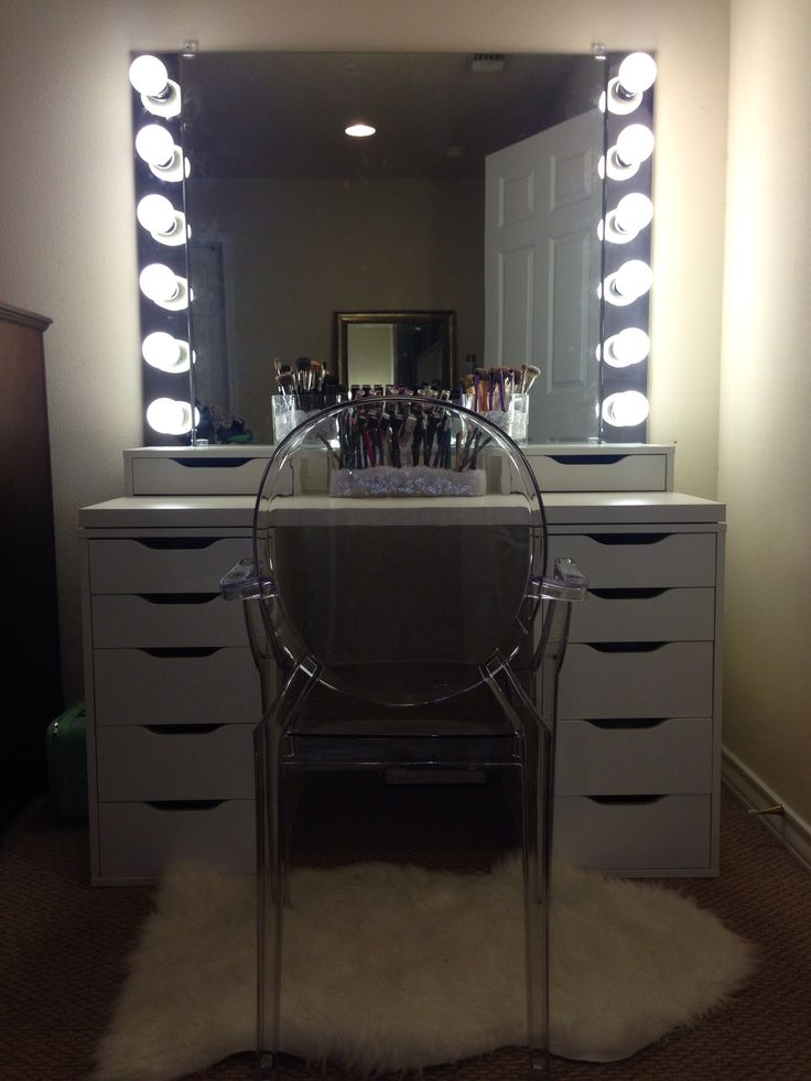 Diy vanity mirror with lights for bathroom and makeup station diy vanity mirror with lights for bathroom and makeup station pinterest ikea vanity vanities and lights aloadofball Image collections
