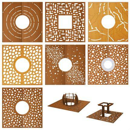 Vierkante corten boomroosters met diverse grafische patronen