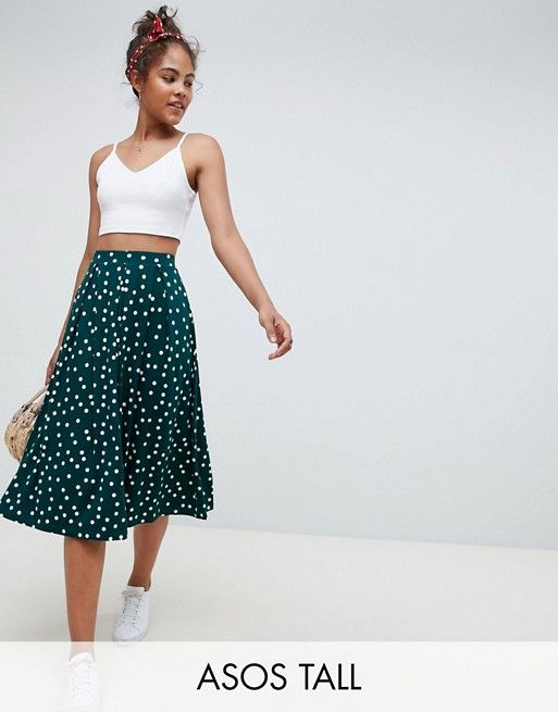 95c7ca7a2 DESIGN Tall midi skirt with box pleats in polka dot in 2019 | Get in my  closet | Midi Skirt, Skirts, Crepe skirts
